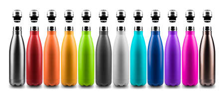 Set of colorful reusable steel stainless thermo water bottles with bottle caps, isolated on white background. Archivio Fotografico