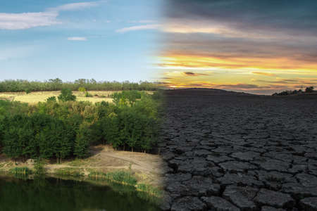 Climate change concept. Before and after. Global warming. Dry lake. Imagens