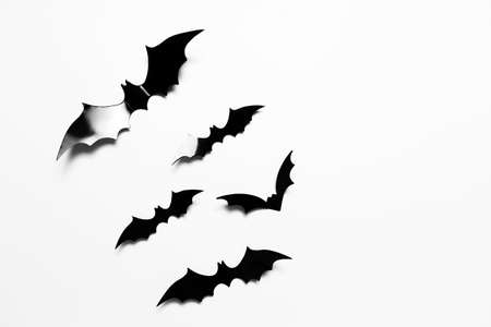 Close-up of many black halloween bats isolated on white background. Stok Fotoğraf
