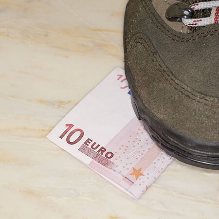 trampled: Euros trampled, concept of bad economy and critical time be addressed Stock Photo