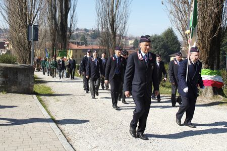 associations: Lurago dErba, Como, Italy - March 16, 2014: The first meeting of sharpshooters veterans manifestation of national character, parade and arrival of associations from different countries in the square