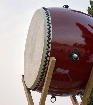 asian culture: Taiko drum of Asian culture in particularly Japanese  view foreground