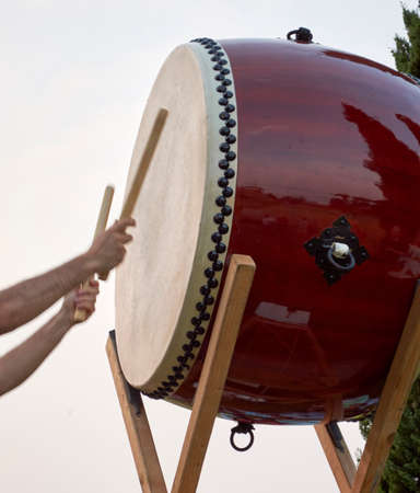 Demonstration of taiko musicians, drum of the traditional Japanese culture in June 2015 photo