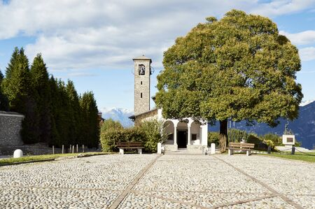 mementos: The square with the church of the Madonna del Ghisallo patroness of cyclists which houses mementos of the great champions