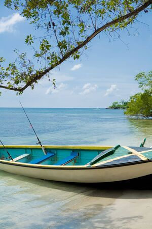 Boat on the shore of a tropical beach