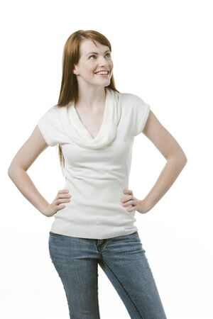 Cute woman looking at copy space or your text