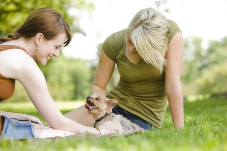 Young women sitting with dog at a park 免版税图像