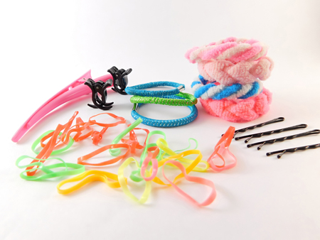 Hair clips of different colors.