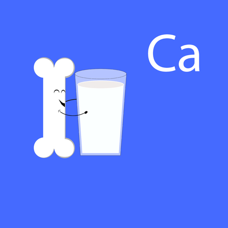 Bone with milk and calcium on plain background.