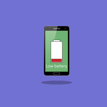 Smartphone with low battery vector 向量圖像