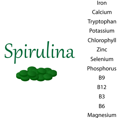 Properties of Spirulina Vitamins B12 Illustration Illustration