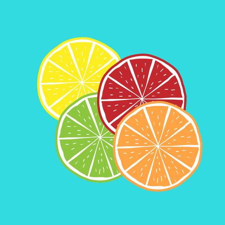 Orange, Lime, Limon, Grenadine Vector Illustration