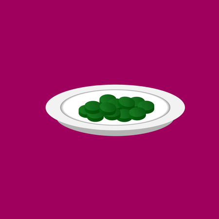 B12 spirulina pills on a plate vector