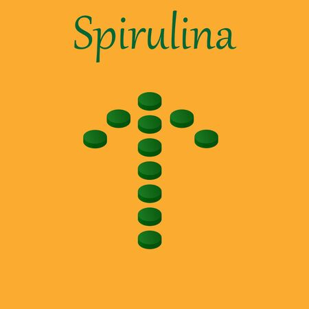 Arrow of Spirulina and Vitamin Pills