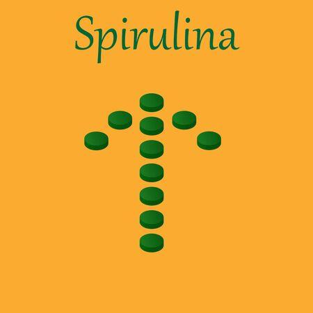 Arrow of Spirulina and Vitamin Pills