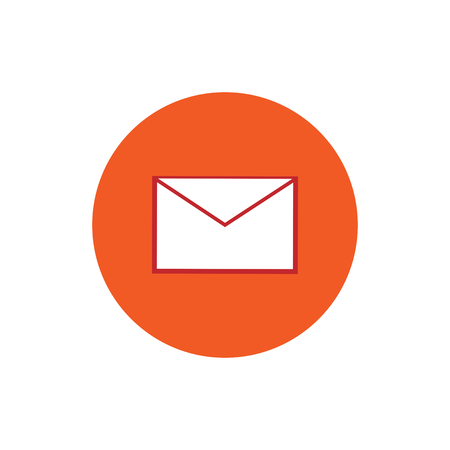 Message mail envelope round flat icon vector illustration
