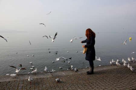 mujer mirando el horizonte: La alimentaci�n de las aves