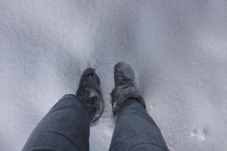 adult footprint: feet in the snow