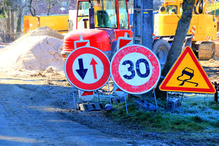 construction vehicle: Roadwork traffic sign