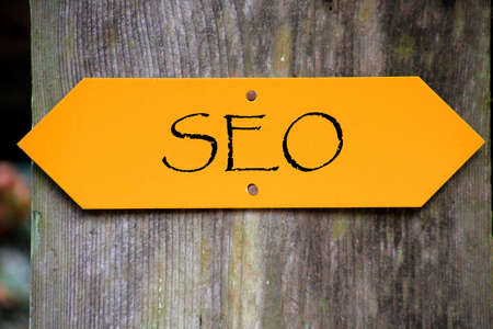 rev: Seo written on a sign Stock Photo