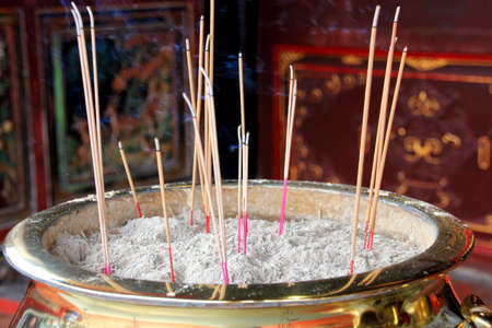 submissive: incense in front of a Chinese temple Stock Photo