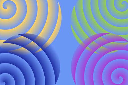 each: four spirals in each corner