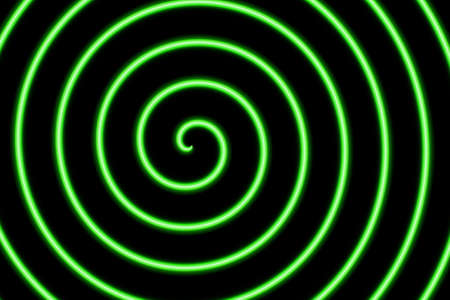 neon green: Illustration of a neon green spiral on a black background