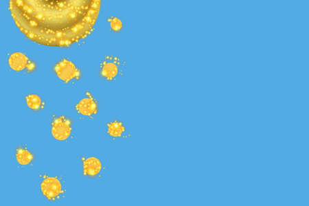 blue circles: blue background with golden circles Stock Photo