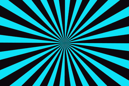 blue stripe: Illustration of cyan blue and black rays from the center Stock Photo