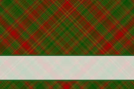 green banner: Dark green and red checkered illustration with white banner Stock Photo