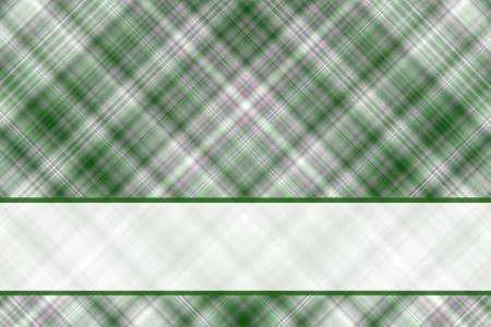 checkered label: Dark green and white checkered illustration with white banner