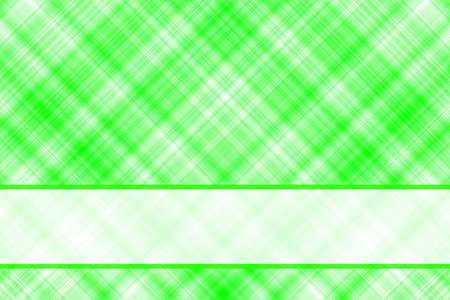 checkered label: Green and white checkered illustration with white banner