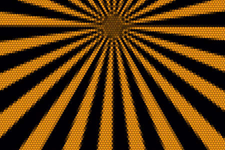 hexagonal pattern: Orange and black rays from the top with hexagonal pattern Stock Photo