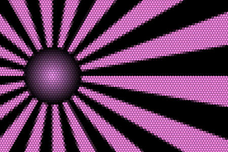 hexagonal pattern: Pink and black rays and ball with hexagonal pattern
