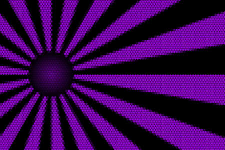 hexagonal pattern: Purple and black rays and ball with hexagonal pattern