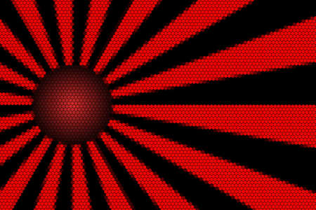 hexagonal pattern: Red and black rays and ball with hexagonal pattern Stock Photo