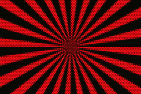 hexagonal pattern: Red and black rays from the middle with hexagonal pattern Stock Photo