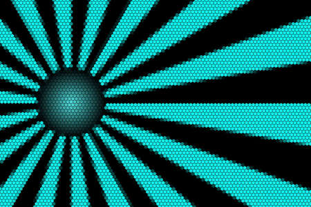 hexagonal pattern: Cyan and black rays and ball with hexagonal pattern