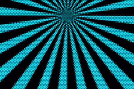 hexagonal pattern: Cyan and black rays from the top with hexagonal pattern Stock Photo