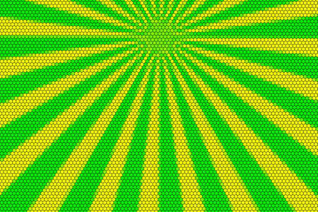 hexagonal pattern: Yellow and green rays from the top with hexagonal pattern