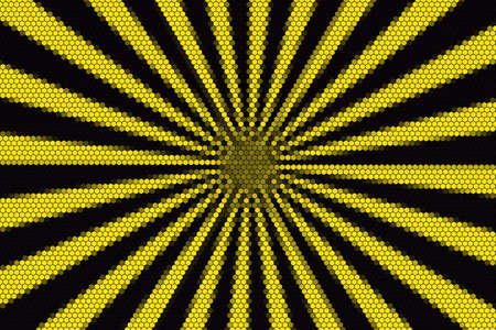 middle: Yellow and black rays from the middle with hexagonal pattern