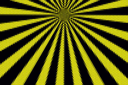 hexagonal pattern: Yellow and black rays from the top with hexagonal pattern