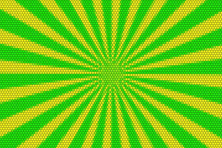 hexagonal pattern: Yellow and green rays from the middle with hexagonal pattern Stock Photo