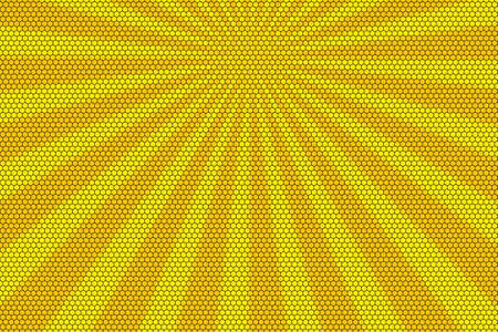 hexagonal pattern: Orange and yellow rays from the top with hexagonal pattern