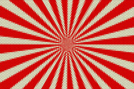 hexagonal pattern: White and red rays from the middle with hexagonal pattern Stock Photo
