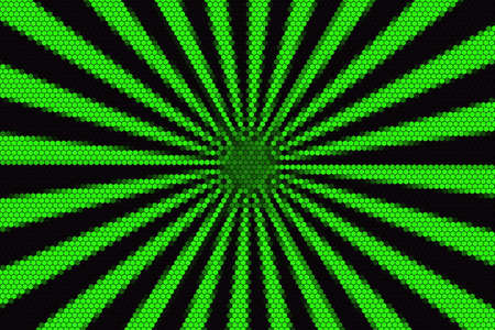hexagonal pattern: Green and black rays from the middle with hexagonal pattern Stock Photo