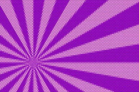 hexagonal pattern: Pink and purple rays from the corner with hexagonal pattern Stock Photo