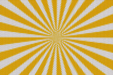 middle: White and orange rays from the middle with hexagonal pattern