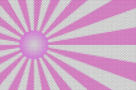hexagonal pattern: Pink and white rays and ball with hexagonal pattern