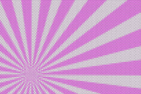hexagonal pattern: Pink and white rays from the corner with hexagonal pattern